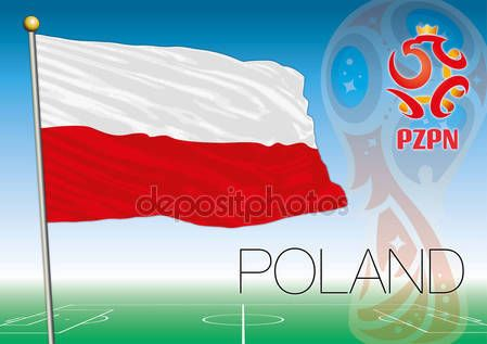 Poland flag, Russia 2018 World Cup football