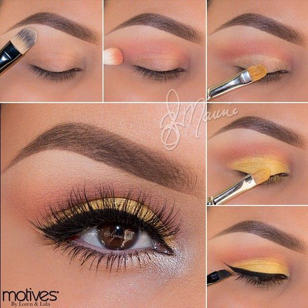 Yellow Eye Makeup | Eyeshadow Tutorials for Brown Eyes -  | How To Make Eyes Look Sexy And Dramatic by Makeup Tutorials at http://makeuptutorials.com/12-colorful-eyeshadow-tutorials-brown-eyes/