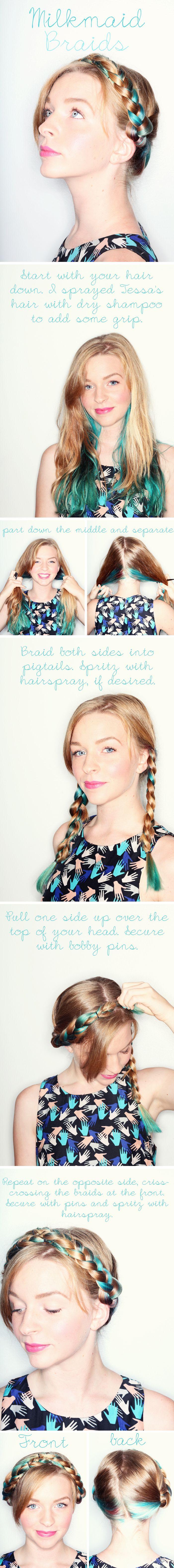 Milkmaid braids hair tutorial.