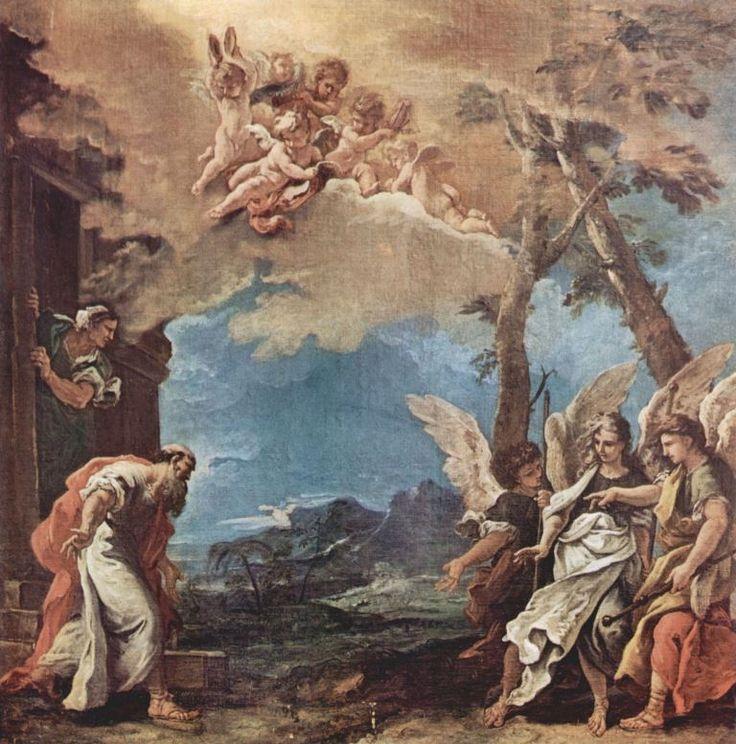 Sebastiano Ricci.  Abraham und die drei Engel. Um 1695, Öl auf Leinwand, 88,5 × 87,5 cm. Saint-Etienne, Musée d'Art et d'Industrie. Italien. Barock und Rokoko.  KO 00768