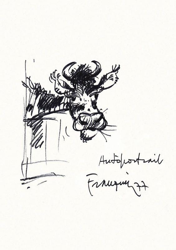 Autoportrait (!) 2 par André Franquin - Dédicace