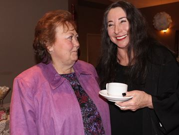 Actress speaks at Wasaga chamber event - Actress Marilyn Lightstone (right) chats with Wasaga Beach Chamber of Commerce manager Trudie McCrea, following Lightstone's presentation on the 'power of a voice'. Ian Adams Photo