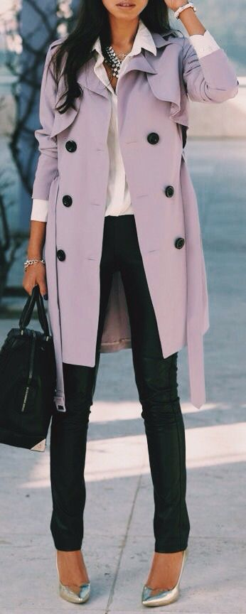 LOVE THIS COAT!  light color with black buttons....  great pop.