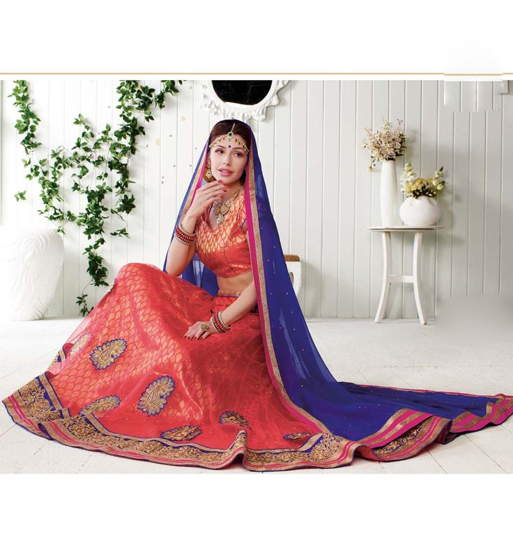Peach Net Wedding Lehenga Choli 65212