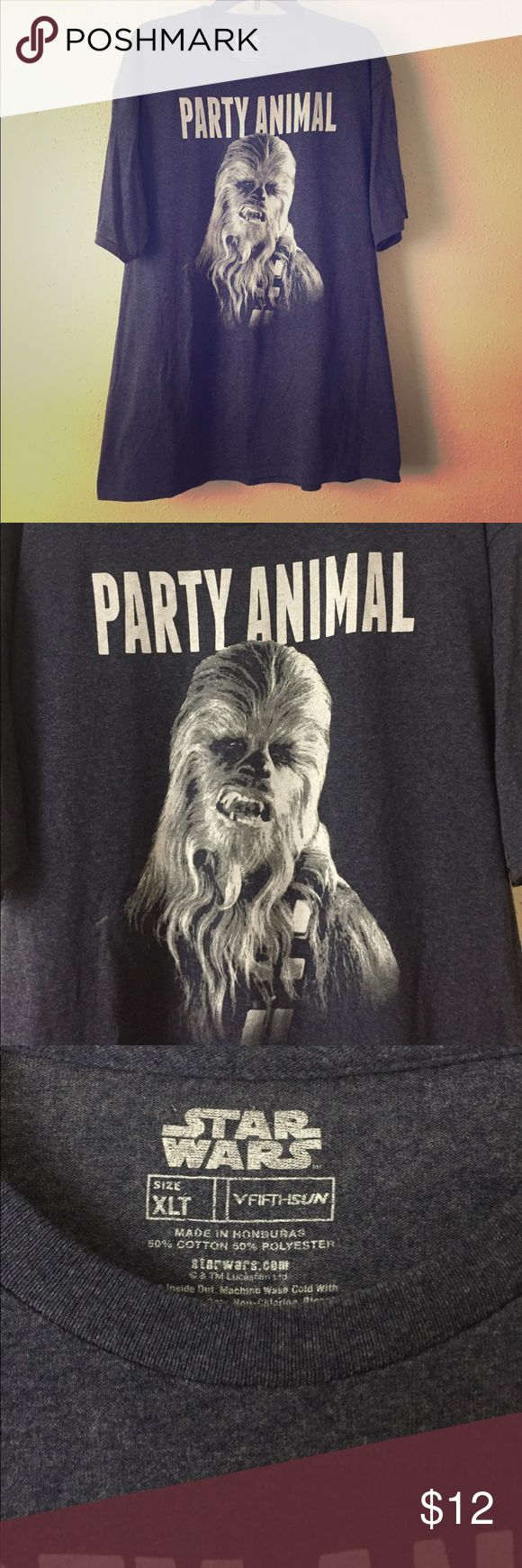 Star Wars Chewbaca Party Animal Tee Pretty awesome Chewy Party Animal Tee. Charcoal Gray. Size XLT. Gently worn. Star Wars Shirts Tees - Short Sleeve