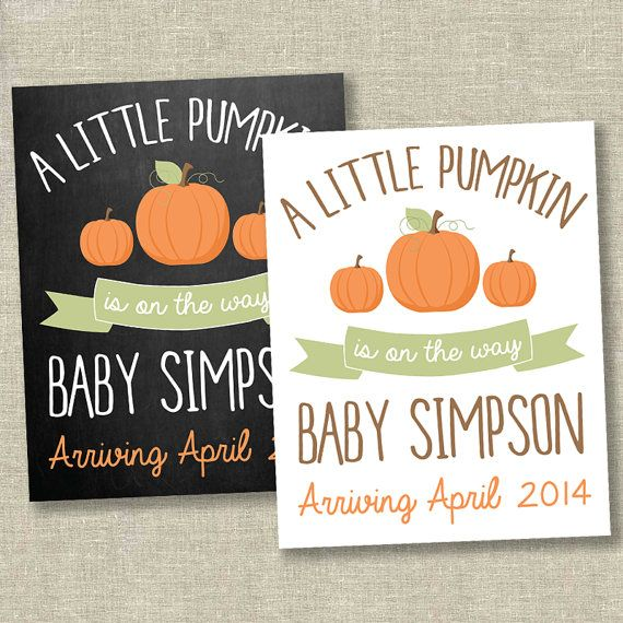 Pumpkin pregnancy announcement little pumpkin by SweetfaceInk