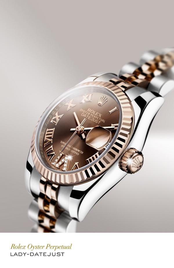 Because every girl loves chocolate.  Rolex Lady-Datejust 26 mm in 904L steel and 18 ct Everose gold with a fluted bezel, gem-set chocolate dial and Jubilee bracelet. #RolexOfficial