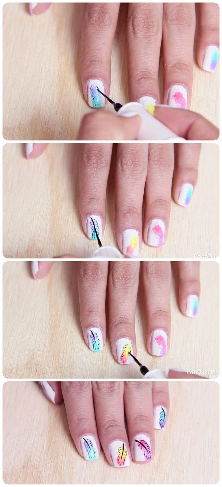 Uñas decoradas con diseños de plumas nail design in