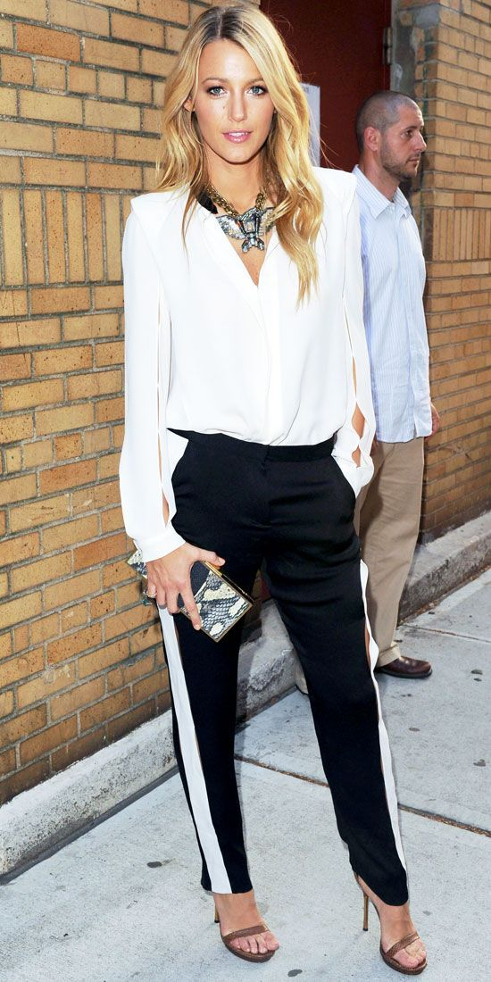 white and black tuxedo pants-reminds us of our pinstripe rag and bone jeans #sinnstyle www.sinnstyle.com