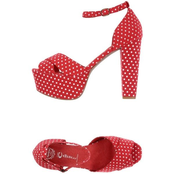 Jeffrey Campbell Sandals ($124) ❤ liked on Polyvore featuring shoes, sandals, red, polka dot sandals, polka dot shoes, jeffrey campbell sandals, ankle strap shoes and buckle shoes