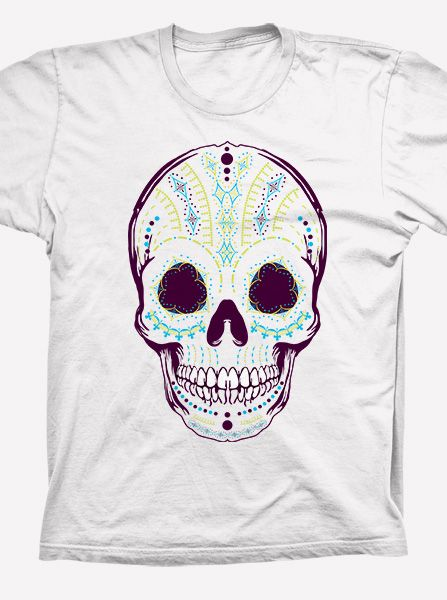Dia de los Muertos Sugar Skull T-Shirt - A kicking shirt for any time of the year, this sugar skull t-shirt features bright colours and intricate patterns. Unique screen printed #T-shirts only at @In Print http://store.theinprint.com/product/dia-de-los-muertos-sugar-skull