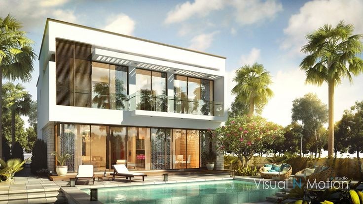 villa green with pool
