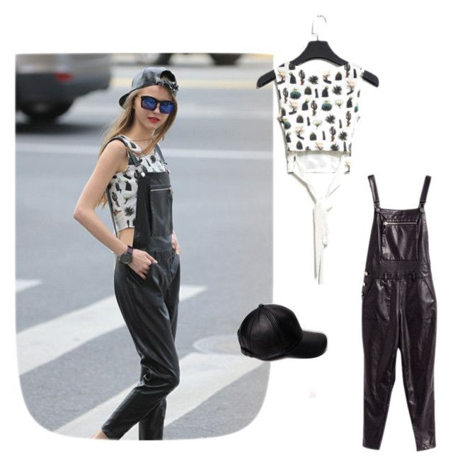 """""""Faux leather overalls"""" by stargazerfashion on Polyvore featuring women's clothing, women, female, woman, misses and juniors"""
