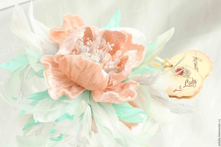 """Купить Пион  """"Магия персика и мяты"""" - цветы из ткани, бирюзовый, шелковые цветы…"""