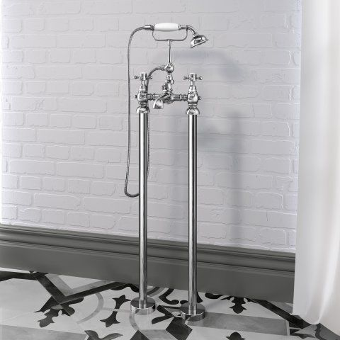 Freestanding Traditional Victoria Stand Pipe Bath Shower Taps