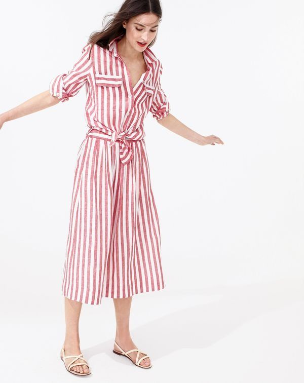 J.Crew women's button-up shirt in striped cotton-linen, midi skirt in striped linen and strappy leather sandals.