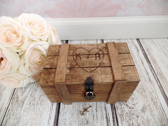 Rustic Keepsake Box Wedding Advice Box Engraved Wood Box Advice For The Couple Love Letter Box Locking Card Box #DownInTheBoondocks