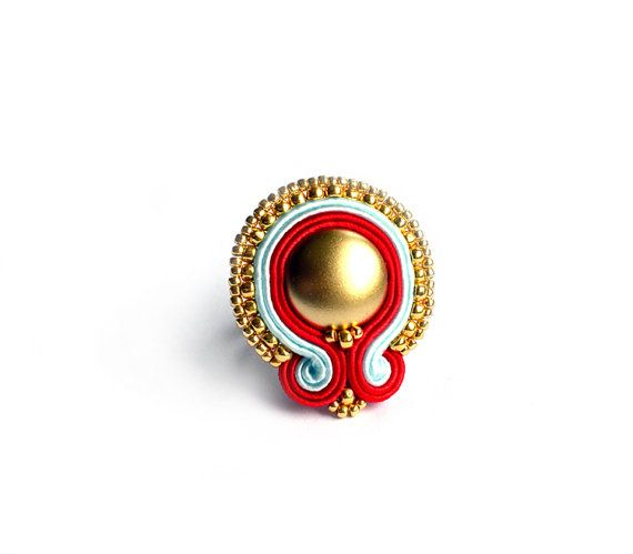Statement bold ring adjustable soutache ring by SaboDesign on Etsy, $42.00