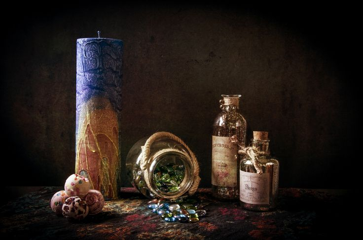 https://flic.kr/p/EkoBrm | Bottles, beads & bombs | Still life with bottles, bath bombs, glass beads and a candle.