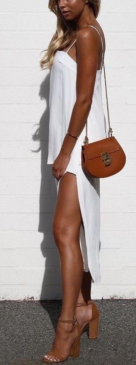 #summer #street #style   White + Tan