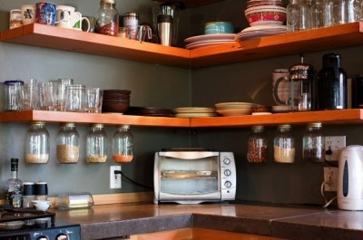 shelves in the kitchen. love this idea.