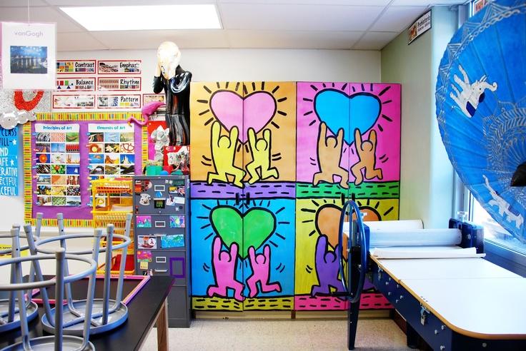 love the keith harring cabinet  doors  Run With Scissors  art room