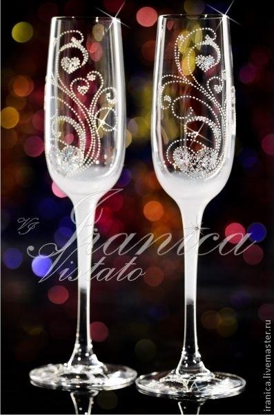 """Купить Свадебные бокалы """"Идилия"""" - свадебные бокалы, свадебные аксессуары, бокалы для свадьбы, бокалы для шампанского"""