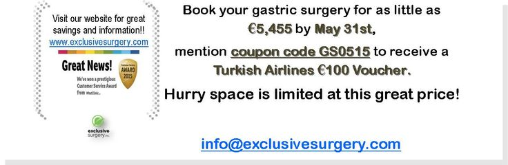 Book your gastric surgery with Exclusive Surgery by May 31st and receive a 100 euro voucher for Turkish Airlines.