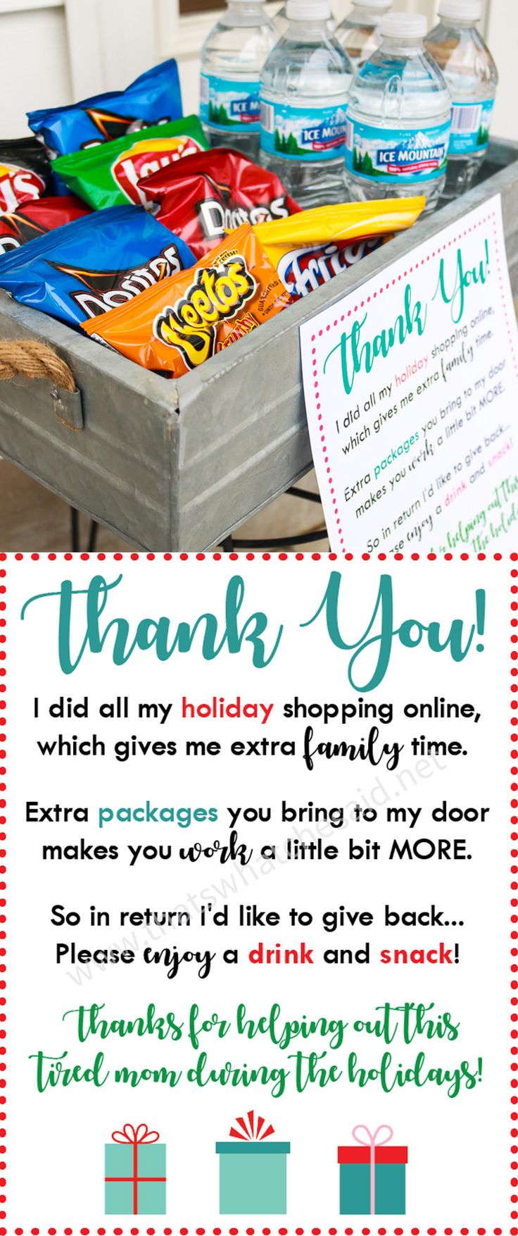 Say thank you to all the amazing delivery drivers this holiday season with this free printable! Add some snacks and drinks and you will make their day a bit brighter! via @cspangenberg