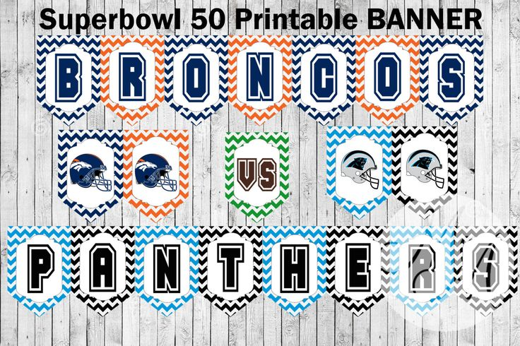 Superbowl 50 Printable Banner. Pendant flags. Broncos VS. Panthers. Football printable. Perfect for Superbowl Party by MemoriesinMoments on Etsy