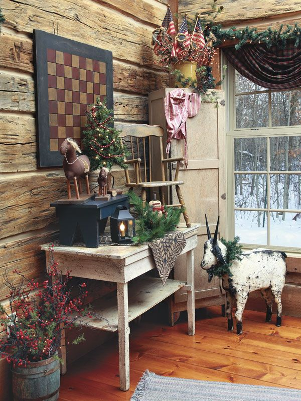 """From our November 2013 issue: In """"Getting Creative,"""" a Minnesota couple fill their home with handmade goods for a welcoming vibe that lends itself to storytelling.  Visit the homeowner's blog: www.primitivesbymichelle.blogspot.com"""