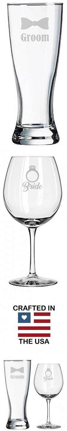 Wedding Glasses - Bride Groom - Wedding Set - Couples Gifts - Engagement Gift - Diamond Engagement Ring - Original Wedding Gifts - Toasting Glasses - Custom Wedding - Personalized - Handmade