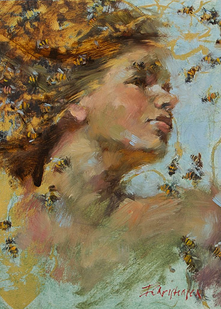 Artist: Ingrid Christensen, oil on canvas {contemporary #impressionist art female head bees woman face portrait cropped painting} www.icartstudios.com