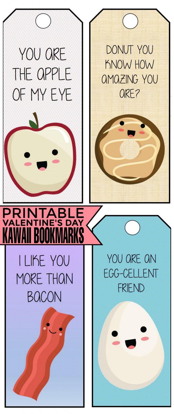 Valentine bookmark to color - Free Printable Valentine S Day Kawaii Bookmarks