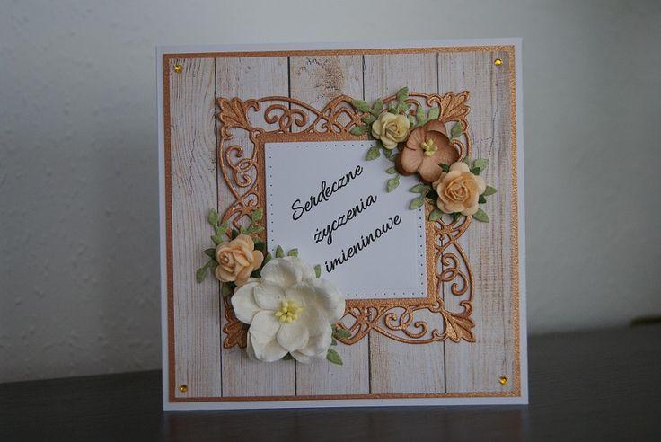 Nameday handmade card on wooden background  https://www.facebook.com/myrainbowfields