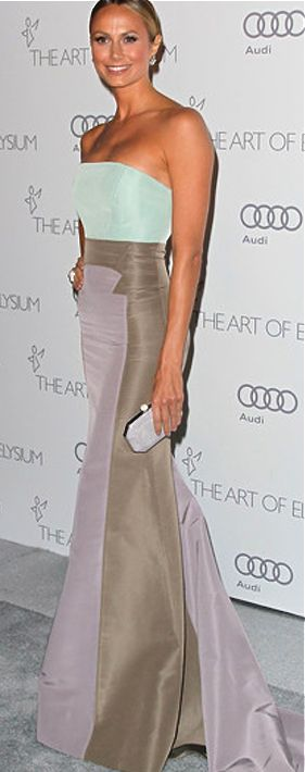 Carolina Herrera pastel strapless gown.