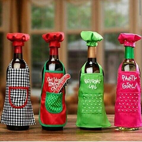 Wine Bottle Apron Chef Set, Christmas Party Wine Decor, Wine Gift Giving Idea