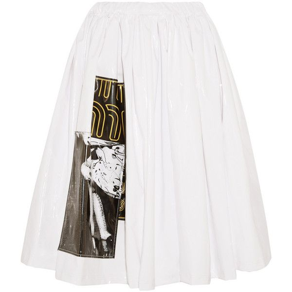 Miu Miu Appliquéd vinyl skirt, Women's, Size: 42 ($1,355) ❤ liked on Polyvore featuring skirts, white, pull on skirt, white knee length skirt, miu miu, vinyl skirting and white skirt