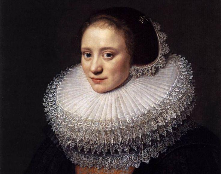 Het atelier van Van Mierevelt besteedde veel aandacht aan de kanten kragen, zoals te zien op dit 'Portret van een vrouw' uit 1618. (Foto: Wikimedia)