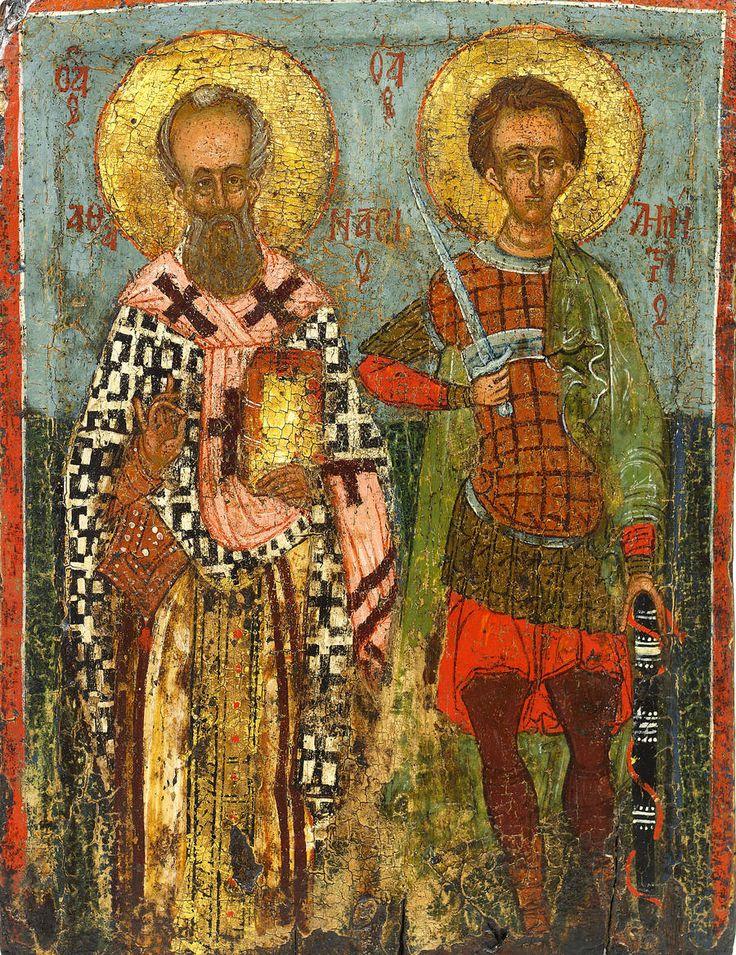 Icon of St. Athanasius and St. Demetrios, Byzantine (Thessaloniki region), 15th century, 34.5 x 26.3 cm