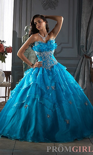 An elegant ball gown for celebrating your sweet sixteen, Quinceanera, or prom. A beautiful blue crystal organza quinceanera gown with a bust enhancing crumb catcher neck and sparkling applique on the midriff and sprinkled throughout the full skirt..    Style:      HOW-QC-26645  Closure:      Lace up back  Fabric:      Organza  Length:      Full  Neckline:      Strapless Sweetheart with Crumb Catcher  Waistline:      Natural   Buy it here…