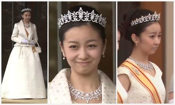 Princess Kako in her parure, on her birthday (center and left) and at the New Year's reception (right)The Royal Order of Sartorial Splendor: Tiara Thursday