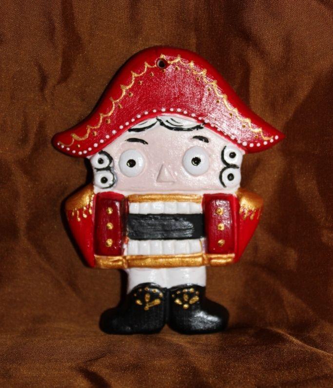 """Новогодняя елочная игрушка """"Щелкунчик"""", керамическая заготовка сделана и расписана вручную"""