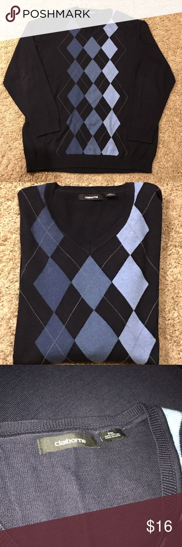 NWOT Liz Claiborne Navy blue argyle sweater New without tags navy blue and blue argyle sweater.   Great for any occasion, wear with jeans or a pair of khakis. Made by Liz Claiborne size XXL. Liz Claiborne Sweaters V-Neck