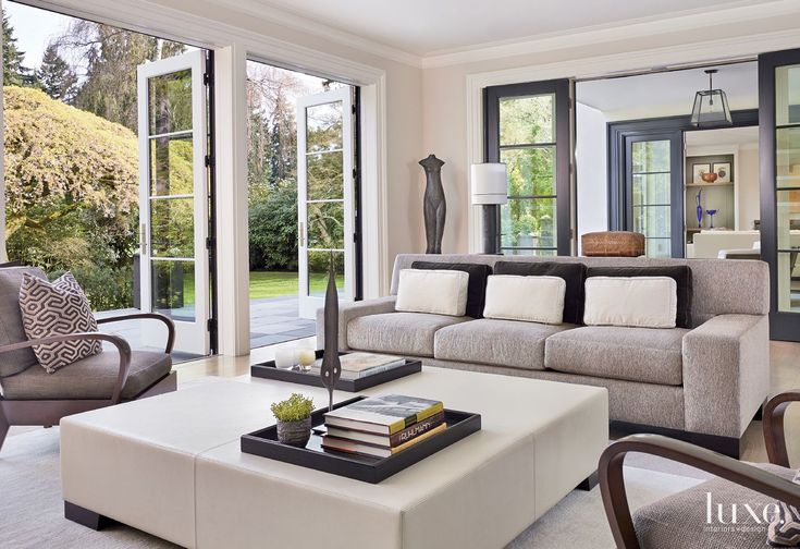 Contemporary Cream Living Room with Custom Blue Coffee Table | LuxeSource | Luxe Magazine - The Luxury Home Redefined