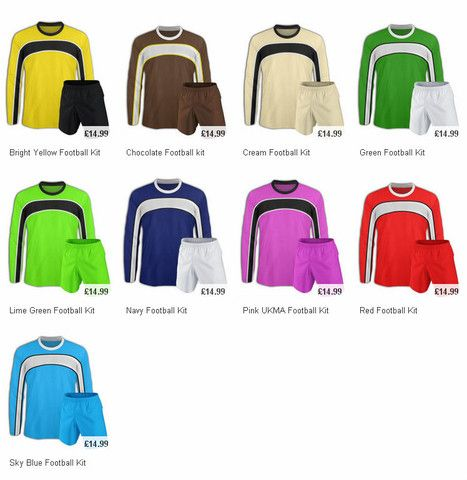 Discount football kits on the UKMA store. Choose from a range of colours.