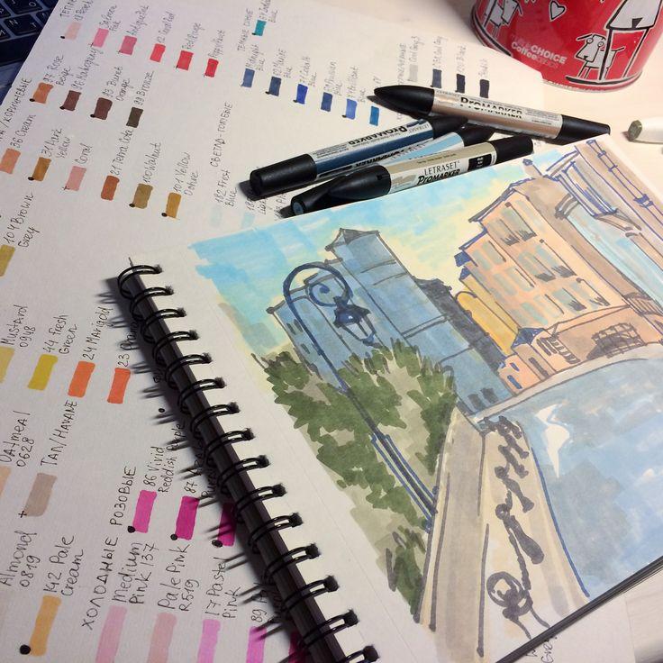 Городской скетчинг маркерами. Быстрый набросок с фото Монте Карло. May Bellfort Illustrations. #sketch #sketching #illustration #maybellfort