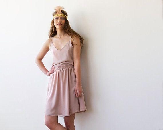 Flapping Pink  Skirt Chifon Mini Skirt pink skirt by BLUSHFASHION, $66.00