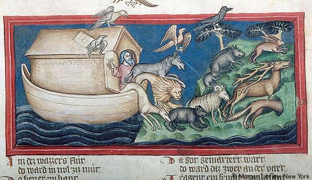 Happy to get off again. Medieval Manuscript Images, Pierpont Morgan Library, Weltchronik. MS M.769 fol. 22r