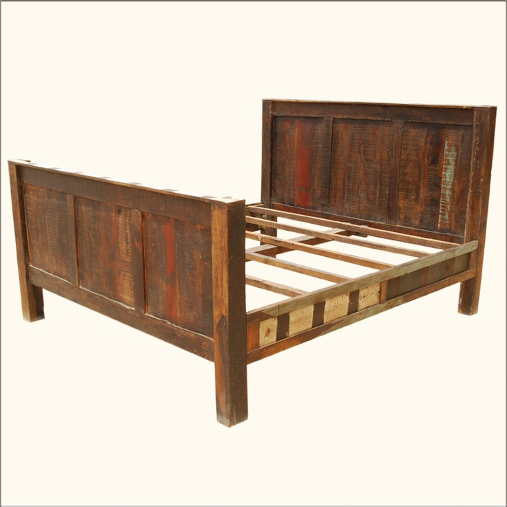 Reclaimed Wood Rustic Distressed Bed Headboard & Footboard ...